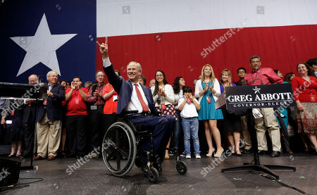 Greg Abbott, Election. Texas Attorney General and Republican candidate for governor Greg Abbott acknowledges the crowd after his victory speech, in Austin, Texas. Abbott defeated Democrat Wendy Davis to win the race for Texas governor
