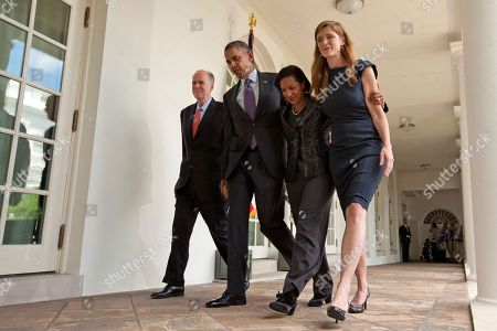 Barack Obama, Susan Rice, Tom Donilon. President Barack Obama walks with, from left, current National Security Adviser Tom Donilon, who is resigning, UN Ambassador Susan Rice, his choice to be his next National Security Adviser, and Samantha Power, his nominee to be the next UN Ambassador, as they leave the Rose Garden of the White House in Washington, after the president made the announcment