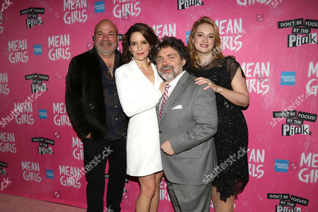 """Casey Nicholaw, Tina Fey, Jeff Richmond, Nell Benjamin. Casey Nicholaw, from left, Tina Fey, Jeff Richmond and Nell Benjamin attend the after party for the """"Mean Girls"""" opening night on Broadway at Tao Downtown, in New York"""