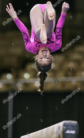 Miranda Cabada of Chino, Calif. performs on the balance beam during the Nastia Liukin Cup gymnastics competition in Worcester, Mass