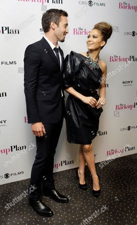 Jennifer Lopez, Alex O'Loughlin. U.S actor Jennifer Lopez, right and Australian actor Alex O' Loughlin, attend the premiere of the movie 'The Back-Up Plan', in London