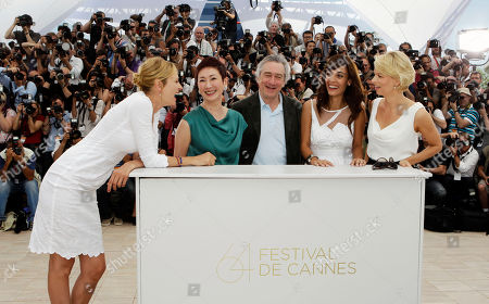 From left, Uma Thurman, Nansun Shi, President of the Jury Robert De Niro, Martina Gusman, and Linn Ullmann pose during a photo call for members of the jury, at the 64th international film festival, in Cannes, southern France