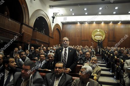 Essam el-Erian vice chairman of the Freedom And Justice party, speaks during a session at the Shura Council building in Cairo, Egypt, . The official approval of Egypt's disputed, Islamist-backed constitution Tuesday held out little hope of stabilizing the country after two years of turmoil and Islamist President Mohammed Morsi may now face a more immediate crisis with the economy falling deeper into distress