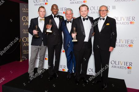 Jeffrey Seller, Giles Terera accepts the award for Best Actor in a Musical, Cameron Mackintosh, Michael Jibson accepts the award for Best Actor in a Supporting Role in a Musical and Sander Jacobs