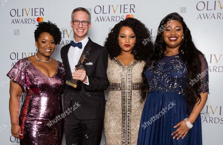 Stock Picture of Nevin Steinberg accepts the award for Best Sound Design, presented by Moya Angela, Marisha Wallace and Karen Mav