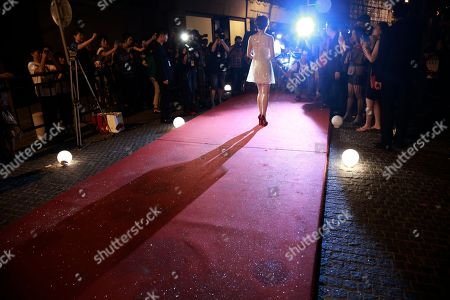 Chinese actress Sun Li poses for photographers on the red carpet of Vogue Fashion's Night Out event in Shanghai, China