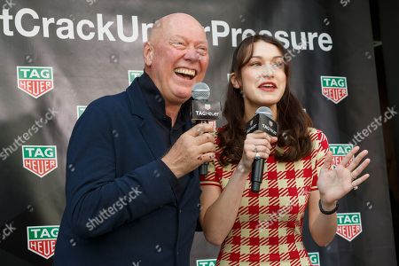 Bella Hadid (R) and Jean-Claude Biver President and CEO of TAG Heuer
