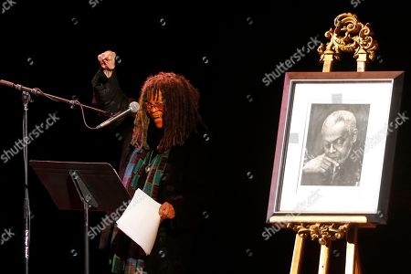 Poet Sonia Sanchez reads a poem during the funeral of poet Amiri Baraka, in Newark, N.J. The 79-year-old author of blues-based poems, plays and criticism died Jan. 9 of an undisclosed illness