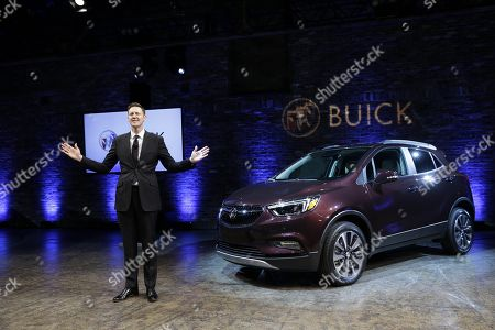 Buick Global Vice President Duncan Aldred speaks during a media preview for the 2017 Buick Encore in New York, as part of the New York International Auto Show