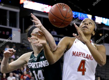 Lexie Brown, Anna Morrissey. Maryland guard Lexie Brown, right, battles for a rebound against Michigan State guard Anna Morrissey during the second half of an NCAA college basketball game in the quarterfinals of the Big Ten Conference tournament in Hoffman Estates, Ill., on . Maryland won 70-60