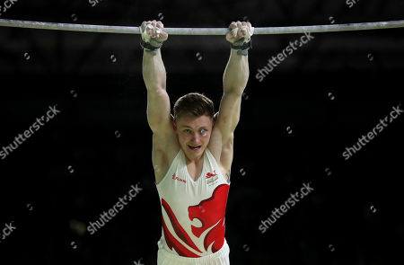Nile Wilson of England competes in the men's horizontal bar finals during the artistic gymnastics competition at the Commonwealth Games at Coomera Indoor Stadium on the Gold Coast, Australia
