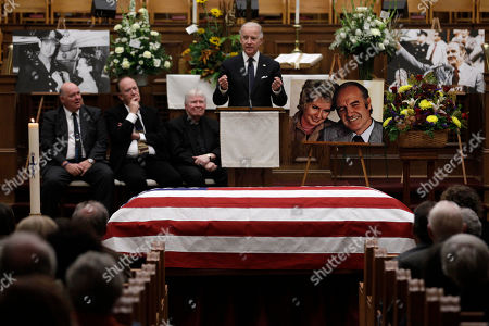 Vice President Joe Biden speaks during a prayer service for former Democratic U.S. senator and three-time presidential candidate George McGovern at the First United Methodist Church in Sioux Falls, S.D., . McGovern died last Sunday in his native South Dakota at age 90