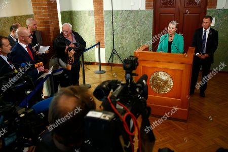 Stock Photo of Announcement of Nobel Peace Prize laureate 2016. Kaci Kullmann Five, chairman of the Nobel Peace Prize award committee, announces the laureate of Nobel Peace Prize 2016, Colombian President Juan Manuel Santos, during a ceremony in Oslo, Norway, . Colombian President Juan Manuel Santos won the Nobel Peace Prize for his efforts to end a civil war that killed more than 200,000 Colombians