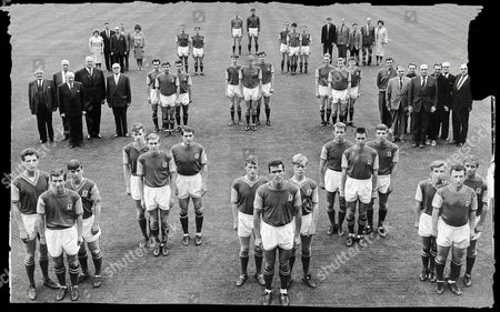 Editorial picture of A Line-up Of The 1965 Aston Villa F.c. Squad. From The Back : Goalkeepers : John Gavin Colin Withers. Right Backs : Keith Bradley Mick Wright. Left Backs : Gordon Lee Charlie Aitken Wilson Briggs. Right Halves : Jimmy Mcewan Mick Tindall Graham Parke
