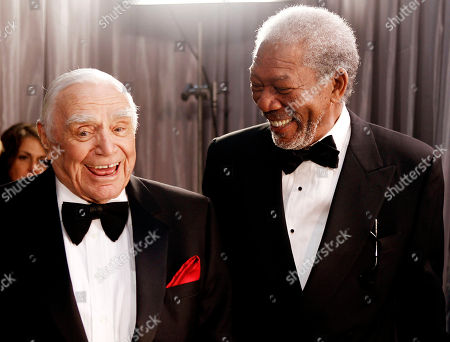 Ernest Borgnine, Morgan Freeman. Ernest Borgnine, left, and Morgan Freeman are seen backstage at the 17th Annual Screen Actors Guild Awards on in Los Angeles