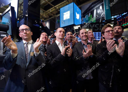Dick Costolo, Jack Dorsey, Evan Williams, Biz Stone. Front row, from left, then Twitter CEO Dick Costolo, Chairman and co-founder Jack Dorsey, and co-founders Evan Williams and Biz Stone, applaud as they watch the ringing of the opening bell at the New York Stock Exchange. Despite executive turmoil and a stock price that has fallen 30 percent since late April 2015, industry experts _ not to mention loyal users _ see potential in the company. But first it needs to address some of its biggest problems