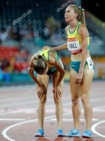Zoe Buckman, Linden Hall. Australia's Linden hall, right, with compatriot Zoe Buckman after their women's 1500m heat at Carrara Stadium during the 2018 Commonwealth Games on the Gold Coast, Australia