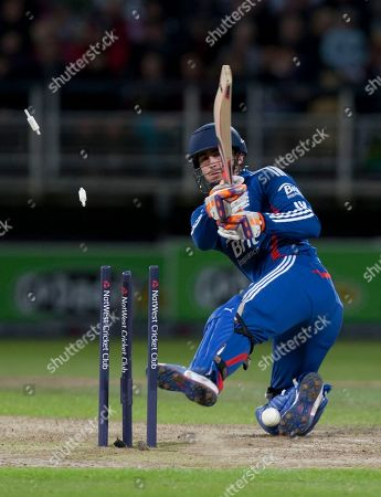 England's Craig Kieswetter is bowled on 50 by South Africa's Morne Morkel during their Twenty20 International cricket match at Edgbaston cricket ground, Birmingham, England