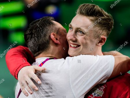 Nile Wilson of England celebrates winning the gold medal in the Men's Horizontal Bar Final on Day Five of the Gold Coast Commonwealth Games 2018.