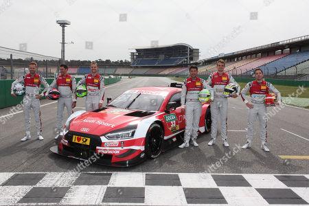 Die Audi-Fahrer v.l. Rene Rast (GER), Loic Duval (FRA), Jamie Green (GBR), Mike Rockenfeller (GER), Nico Müller (SUI) and Robin Frijns (NL)