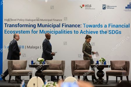 (L to R) Mayor of Malaga, Francisco de la Torre, the President of the United Cities and Local Governments (UCLG) and the South African Local Government Association (SALGA), Mpho Parks, and UNCDF Executive Secretary, Judith Karl, attend the opening of the High-level Policy Dialogue on Municipal Finance in Malaga, southeastern Spain, 09 April 2018.