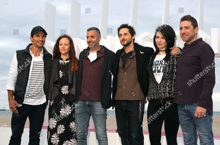 (L-R) Israelis actor Dan Mor, a guest, director Omri Givon, actors Tomer Kapon, Ninet Tayeb and Moshe Ashkenazi pose during the photocall for the TV series 'When Heroes Fly' at the 1st Cannes Series Festival, in Cannes, 09 April 2018. The event will take place from 04 to 11 April.