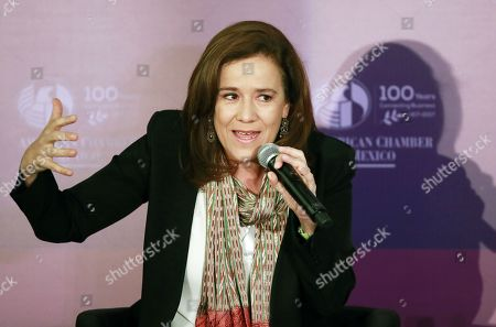 Presidential candidate Margarita Zavala de Calderon speaks during the 101st General Assembly of the American Chamber of Commerce in Mexico City, Mexico, 09 April 2018. The four presidential candidates for the 01 July general elections participate in the event.