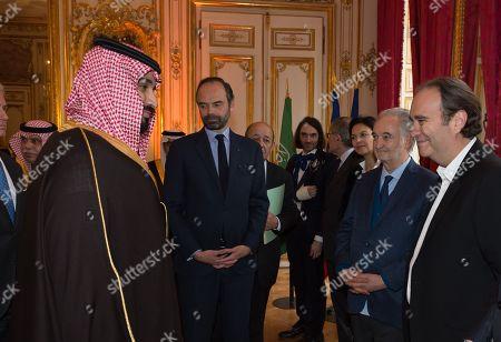 Crown Prince Mohammad bin Salman bin Abdulaziz Al Saud, Edouard Philippe, Cedric Villani, Gerard Mestrallet, Isabelle Giordano, Jacques Attali and Xavier Niel.