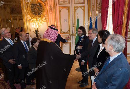 Crown Prince Mohammad bin Salman bin Abdulaziz Al Saud, Cedric Villani, Gerard Mestrallet, Isabelle Giordano and Jacques Attali.