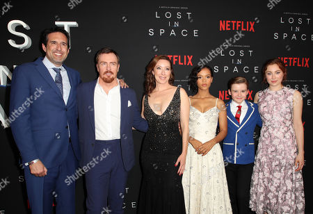 Zack Estrin, Toby Stephens, Molly Parker, Taylor Russell, Maxwell Jenkins and Mina Sundwall