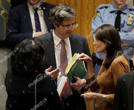 Nikki Haley, Francois Delattre, Karen Pierce. United States Ambassador to the United Nations Nikki Haley, right, talks with the French U.N. Ambassador Francois Delattre, center, and British U.N. Ambassador Karen Pierce before a Security Council meeting at U.N. headquarters