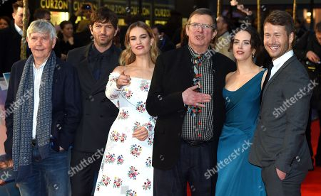 Glen Powell, Jessica Brown-Findlay, Mike Newell, Lily James, Michiel Huisman and Tom Courtenay