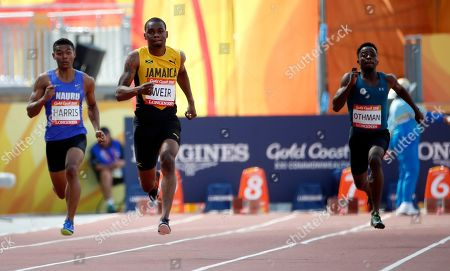 Jamaica's Warren Weir leads the field to win his heat in the men's 200m at Carrara Stadium during the 2018 Commonwealth Games on the Gold Coast, Australia
