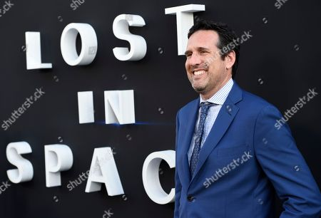 "Zack Estrin arrives at the Los Angeles premiere of ""Lost in Space"" at the ArcLight Cinerama Dome on"