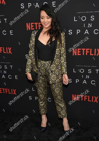 """Kiki Sukezane arrives at the Los Angeles premiere of """"Lost in Space"""" at the ArcLight Cinerama Dome on"""