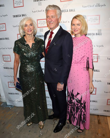 Eileen Guggenheim, David Kratz, Naomi Watts. Eileen Guggenheim, from left, David Kratz and Naomi Watts attend the Tribeca Ball at the New York Academy of Art, in New York