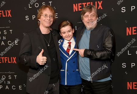"Bill Mumy, Maxwell Jenkins, Mark Hamill. Bill Mumy, from left, Maxwell Jenkins and Mark Hamill arrive at the Los Angeles premiere of ""Lost in Space"" at the ArcLight Cinerama Dome on"