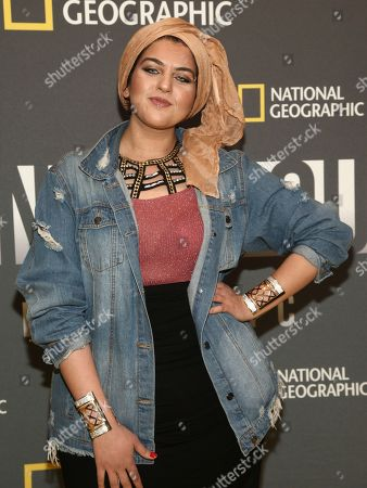 """Amani Al-Khatahtbeh attends the world premiere screening of National Geographic's """"America Inside Out With Katie Couric"""" at the Museum of Modern Art, in New York"""