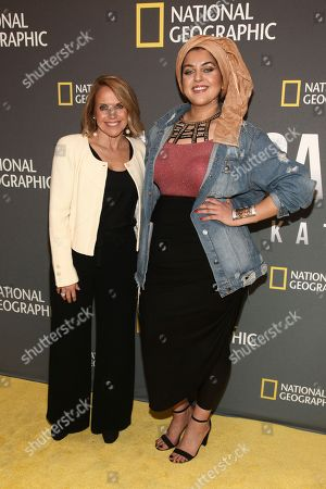 """Katie Couric, Amani Al-Khatahtbeh. Katie Couric, left, and Amani Al-Khatahtbeh, right, attend the world premiere screening of National Geographic's """"America Inside Out With Katie Couric"""" at the Museum of Modern Art, in New York"""