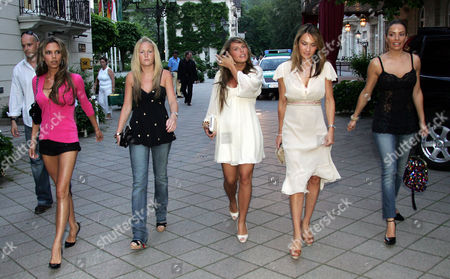Victoria Beckham. Victoria Beckham Leads The England Women Into Action Last Night. Victoria 32 Looked Stunning In Black Hotpants As They Headed Out To Dinner Last Night. Pictured L-r: Victoria Beckham Unknown Coleen Rooney (girlfriend Of Wayne Rooney) Louise Owen (wife Of Michael Owen) And Elen Rivas (fiance Of Frank Lampard) 14.06.06. Ther England Players Wives / Girlfriends Leave The Brenners Park Hotel To Go Out To Dinner In Baden-baden Germany. L-r Victoria Beckham Coleen's Sister Coleen Rooney *** Do Not Know Name *** Elen Rivas