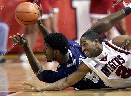 Roy Hibbert, Anthony Farmer. Georgetown's Roy Hibbert, left, tries to keep the ball away from Rutgers' Anthony Farmer (2) as they fall during the first half of a basketball game, in Piscataway, N.J