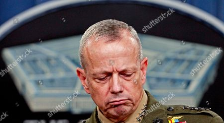 Marine Gen. John R. Allen, commander of the International Security Assistance Force, pauses during a news conference at the Pentagon
