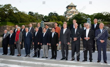 Jaquin Almunia James Flaherty Christine Lagarde Giulio Tremonti Wayne Swan Fukushiro Nukaga Surapong Suebwonglee Aleksey Kudrin Henry Paulson Alistair Darling Andrej Bajuk Mario Draghi Dominique Strauss-Kahn Thomas Mirow Marcos Galvao Li Yong Choi Joong-kyung Michael Sachs Robert Zoellick Haruhiko Kuroda Nobuo Tanaka. Delegation members of G8 Finance Summit pose during the opening photo session at the Osaka Castle, western Japan, . They are, front row, from left, are, European Commissioner for Economic Jaquin Almunia, Canadian Finance Minister James Flaherty, French Minister of Economy, Industry and Employment Christine Lagarde, Italian Finance Minister Giulio Tremonti, Australian Treasurer Wayne Swan, Japanese Finance Minister Fukushiro Nukaga, Thai Deputy Prime Minister and Finance Minister Surapong Suebwonglee, Russian Deputy Prime Minister and Finance Minister Aleksey Kudrin, U.S. Treasury Secretary Henry Paulson, British Chancellor of the Exchequer Alistair Darling, EU Finance Minister Andrej Bajuk of Slovenia. Back row, from left, FSF Chairman Mario Draghi, IMF Managing Director Dominique Strauss-Kahn, Germany State Secretary Thomas Mirow, Brazil Secretary for International Affairs Marcos Galvao, Chinese Vice Finance Minister Li Yong, South Korean Vice Minister Choi Joong-kyung, South Africa Special Advisor Michael Sachs, World Bank President Robert Zoellick, Asian Development Bank President Haruhiko Kuroda, IEA, International Energy Agency Executive Director Nobuo Tanaka