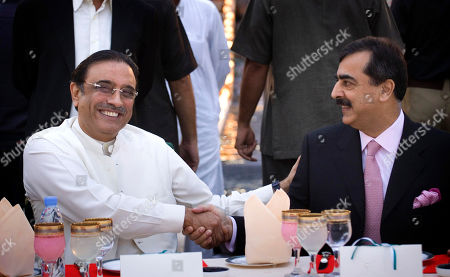 Asif Ali Zardari, Yousuf Raza Gillani. Pakistani President elect Asif Ali Zardari, left, head of the ruling Pakistan People's Party and widower of two-time Prime Minister Benazir Bhutto, is congratulated by Prime Minister Yousuf Raza Gillani during a celebration dinner at the Prime Minister residence in Islamabad, Pakistan on . The widower of slain former premier Benazir Bhutto became Pakistan's new president Saturday after winning a landslide election victory that makes him a critical partner of the West against international terrorism