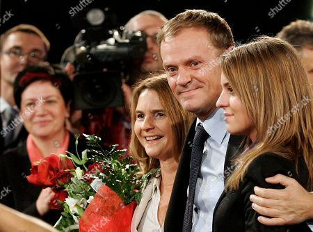 Donald Tusk, Katarzyna Tusk, Malgorzata Tusk. Leader of the Civic Platform Donald Tusk, center, accompanied with his wife Malgorzata, left, and his daughter Katarzyna, right, look on after the announcement of the exit polls of the general elections in Warsaw, Poland on . According to the exit polls the Civic Platform won the elections ahead of the conservative Law and Justice party of Poland's Prime Minister Jaroslaw Kaczynski