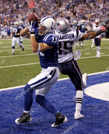 Mike Richardson, Anthony Gonzalez. Indianapolis Colts wide receiver Anthony Gonzalez, left, makes a touchdown catch over New England Patriots defensive back Mike Richardson in the third quarter of an NFL football game in Indianapolis