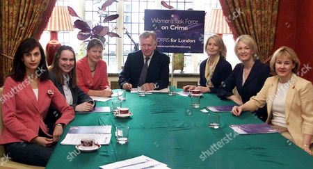 Conservative London Mayoral Candidate Steve Norris Launches His Women's Task Force On Crimereport. With Task Force Members [l-r] Anita Kapoor Jane Wright Angie Bray Steve Norris Sandra Howard Prof. Gloria Laycock Margot James.