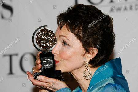 """Deanna Dunagan poses backstage with her award for Best Performance by a Leading Actress in a Play Tony for """"August: Osage County"""" at the 62nd Annual Tony Awards in New York"""