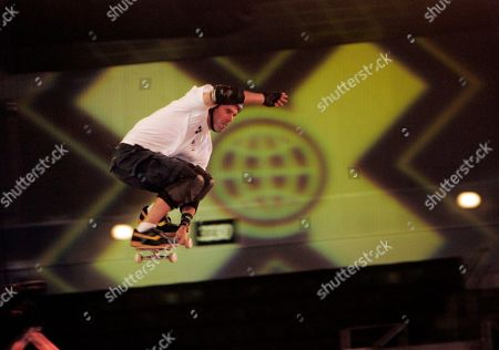 Andy MacDonald of San Diego, gets air during the selection session for the Skateboard Big Air competition at the X Games at Staples Center in Los Angeles