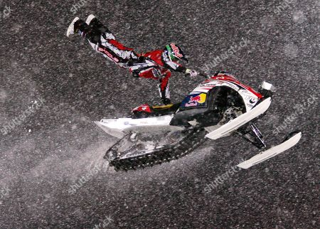 Levi LaVallee from Longville, Minn. flies his Snowmobile through the air during the final Speed and Style competition on Thursday, Jan. 24,2008 at the winter X Games at Buttermilk Ski area, near Aspen, Colo. LaVallee placed first in this new event for these games